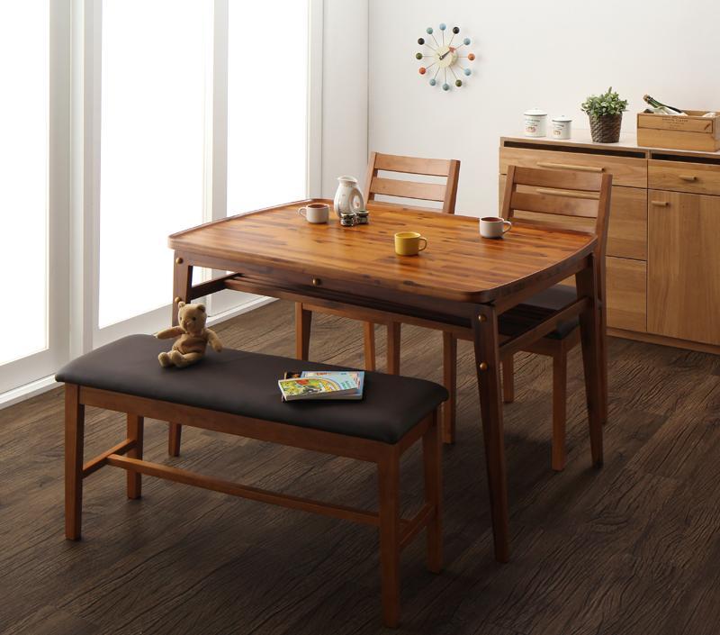 天然木モダンデザインダイニング alchemy アルケミー 4点セット(テーブル+チェア2脚+ベンチ1脚) W120