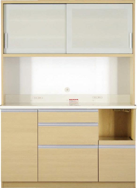 送料無料 開梱サービスなし 大型レンジ対応 清潔感のある印象が特徴のキッチンボード 幅140cm 高さ193cm
