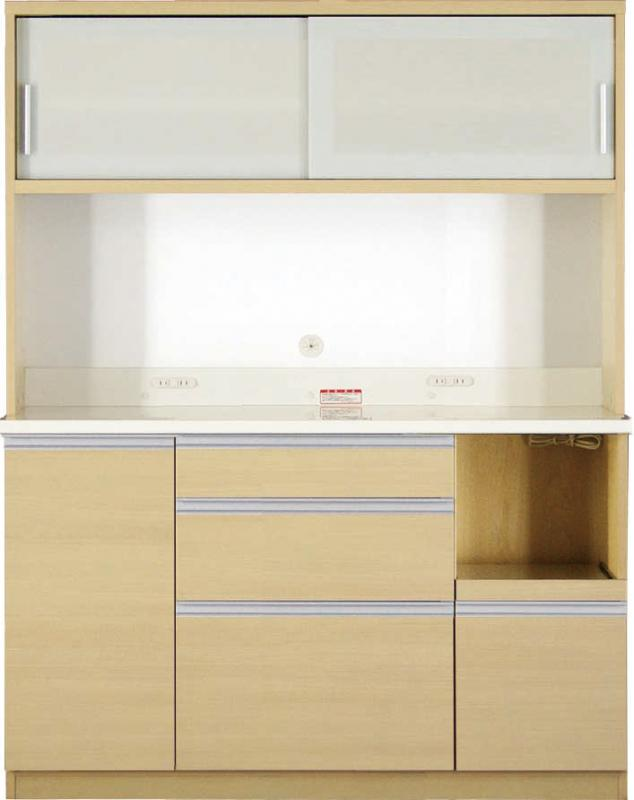 送料無料 開梱サービスなし 大型レンジ対応 清潔感のある印象が特徴のキッチンボード 幅140cm 高さ178cm