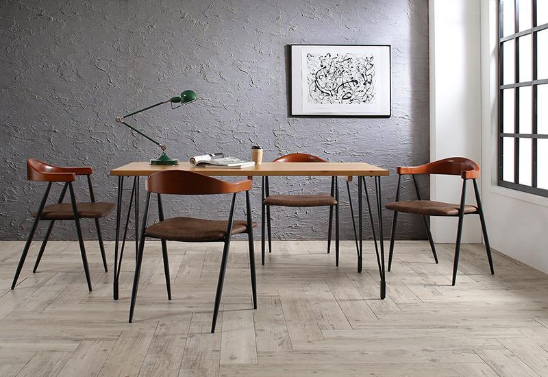 (送料無料) ダイニング 5点セット (テーブル 幅150cm +チェア4脚) ヴィンテージ インダストリアルデザイン Almont オルモント ダイニングテーブルセット 4人用 4人掛け 木製 角型 ナチュラル