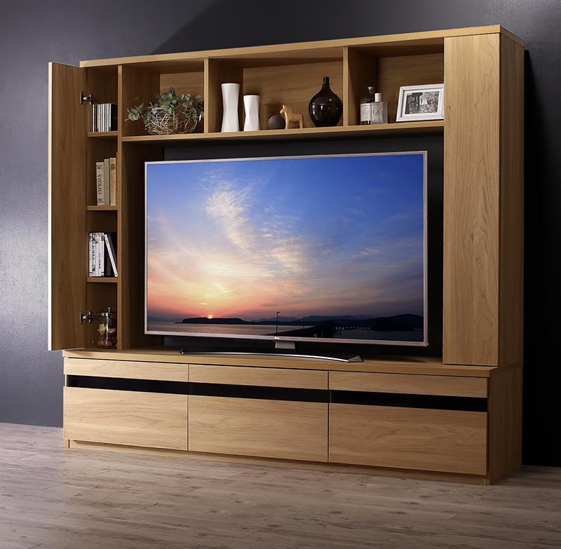(送料無料) ハイタイプテレビボード 収納 ハイタイプテレビ台 幅180cm 奥行き45cm 高さ160cm 55型対応 TITLE タイトル 木製 テレビ台 テレビラック TV台 TVボード オークナチュラル