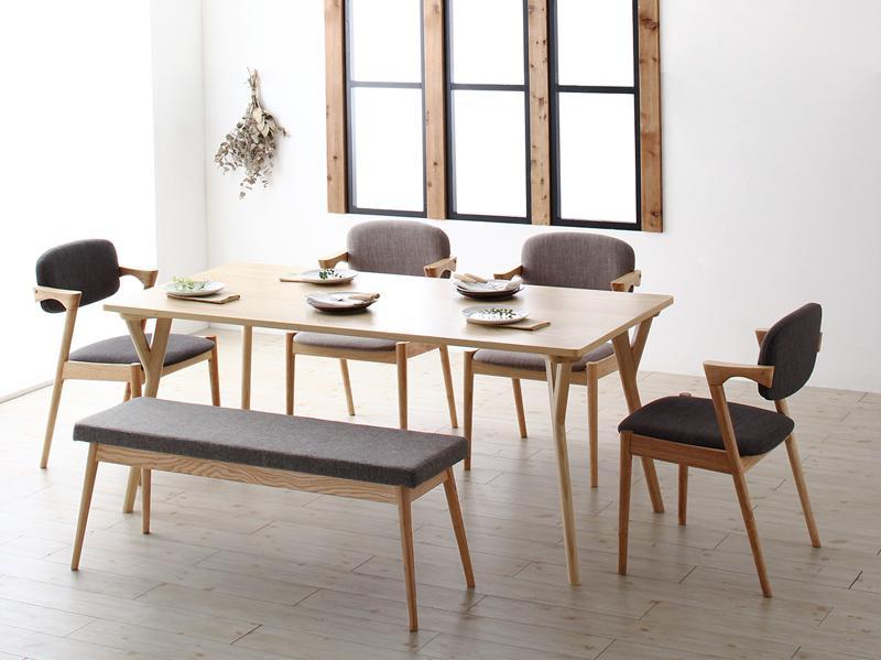 (送料無料) ダイニングテーブルセット 6点セット テーブル 幅170cm +チェア4脚+ベンチ1脚 北欧ナチュラルモダンデザイン天然木ダイニングセット Wors ヴォルス 木製 6人掛け 6人用 角型 食卓 ライトグレー チャコールグレー