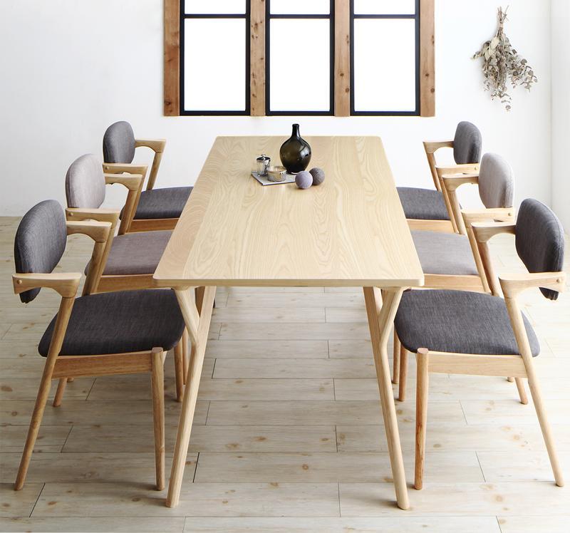 (送料無料) ダイニングテーブルセット 7点セット(テーブル 幅170cm +チェア6脚) 北欧ナチュラルモダンデザイン天然木ダイニングセット Wors ヴォルス 木製 6人掛け 6人用 角型 食卓 ライトグレー チャコールグレー