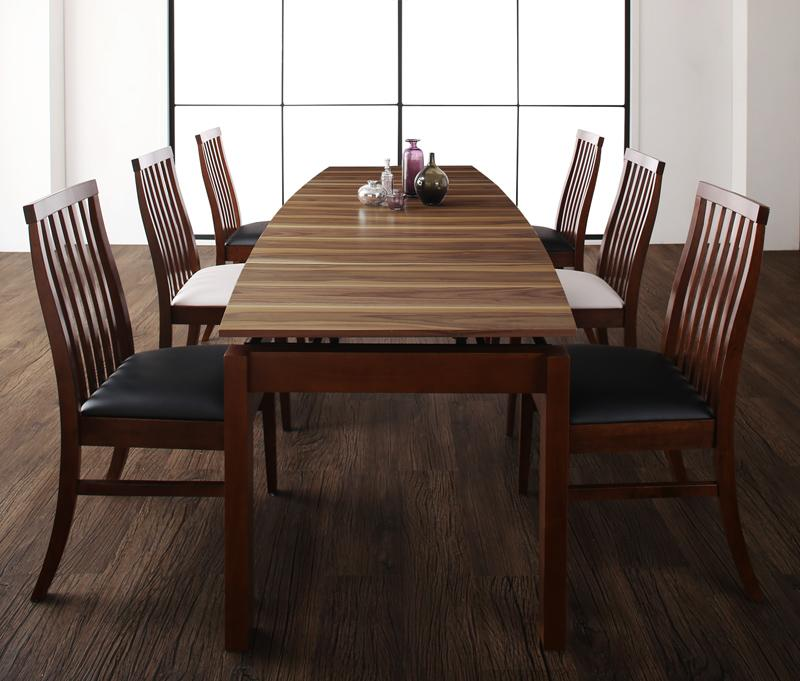 (送料無料) ダイニングテーブルセット 7点セット テーブル 幅140-240cm +チェア6脚 天然木ウォールナット材 ハイバックチェア ダイニング Austin オースティン 伸縮 エクステンション 木製 4人掛け 4人用 角型 食卓 ウォールナット ブラウン ブラック ホワイト