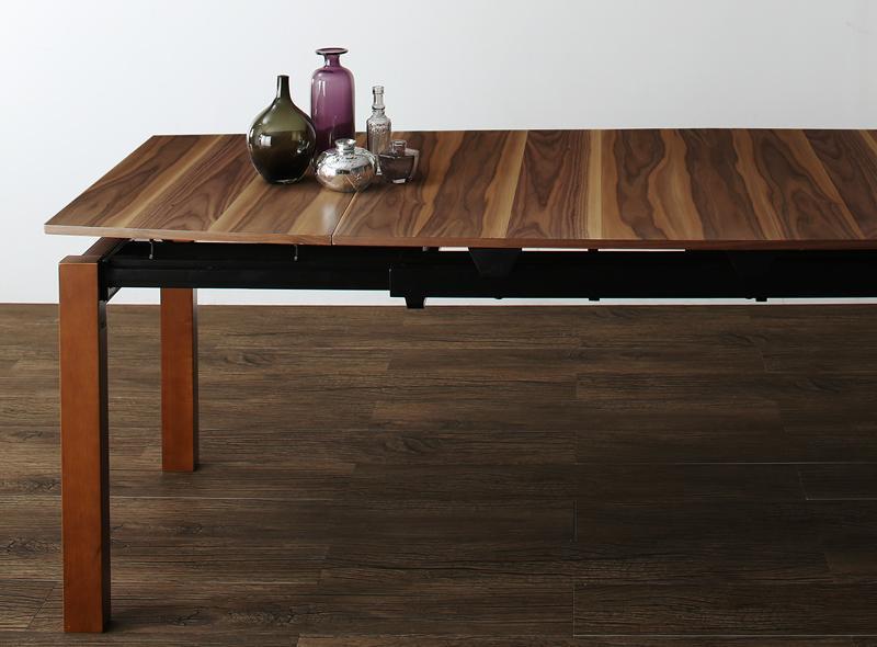 (送料無料) ダイニングテーブルのみ 幅140-240cm 奥行き90cm 高さ72cm 北欧テイスト 天然木ウォールナット材 伸縮ダイニング Aurora オーロラ 伸縮 エクステンション 木製 4人掛け 4人用 角型 食卓 ウォールナット ブラウン