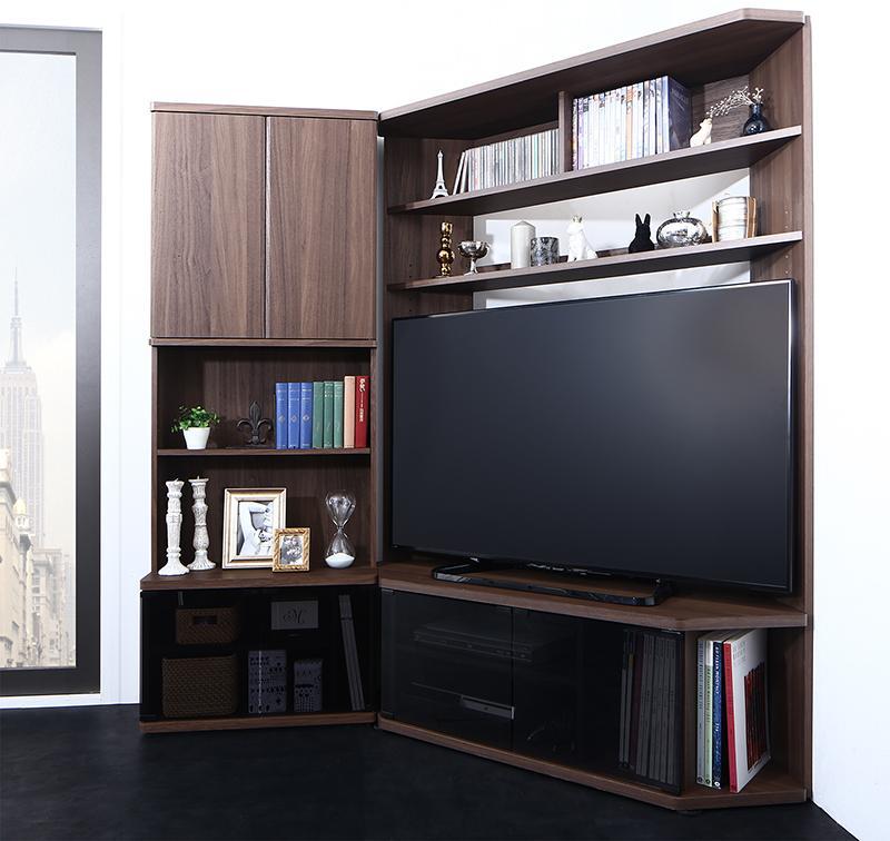 (送料無料) ハイタイプコーナーテレビボード 2点セット(テレビボード+キャビネット) ガイド Guide 壁面 木製 テレビ台 幅120cm TVラック 52V型まで対応 ブラウン