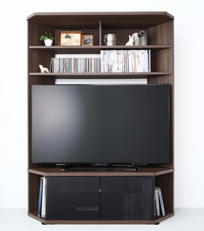 (送料無料) ハイタイプコーナーテレビボード単品 ガイド Guide テレビボード 壁面 木製 テレビ台 幅120×奥行き40.3×高さ162cm TVラック 52V型まで対応 ブラウン