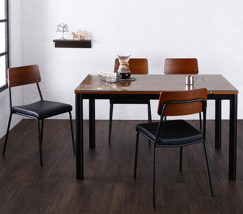 (送料無料) 食卓 テーブル 5点セット(テーブル W130+チェア4脚) 異素材ミックスカフェスタイルダイニング paint ペイント テーブルセット ガラステーブル スチール 4人掛け 4人用 ブラウン