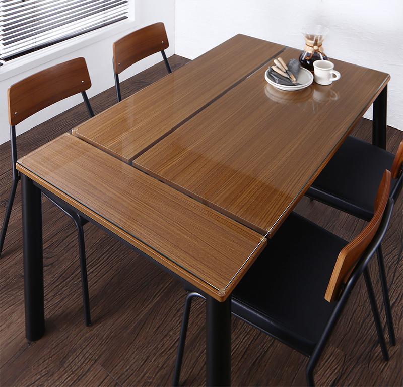 (送料無料) 食卓 テーブル単品 幅130×奥行き80×高さ72.5cm 異素材ミックスカフェスタイルダイニング paint ペイント ダイニングテーブル ガラステーブル スチール 4人掛け 4人用 角型 ブラウン
