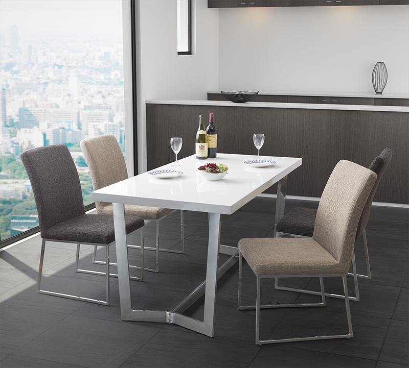 (送料無料) ダイニング 5点セット(テーブル W150+チェア4脚) ラグジュアリーモダンデザインダイニング Ajmer アジュメール 角型 木製 食卓 ステンレススチール グロッシーホワイト ウォールナット