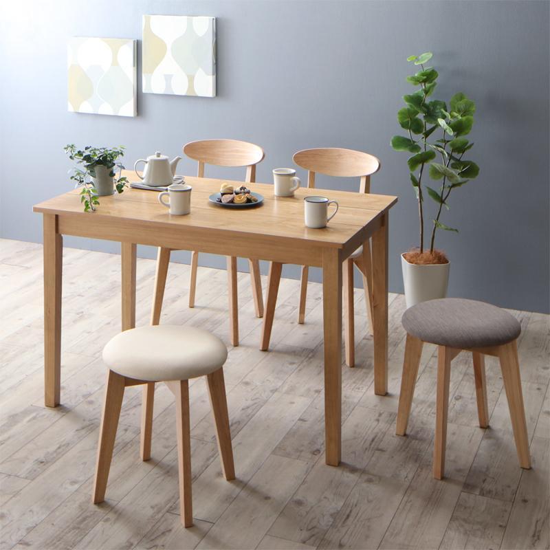 (送料無料) ダイニングテーブルセット 5点セット(テーブル ナチュラル W115+チェア2脚+スツール2脚) 北欧 ダイニング Lucks ルクス 木製 食卓 4人掛け アイボリー ライトグレー