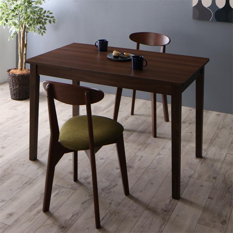 (送料無料) ダイニングテーブルセット 3点セット(テーブル ブラウン W115+チェア2脚) 北欧 ダイニング Lucks ルクス チェア2脚セット 木製 食卓 2人掛け ダークグレー グリーン