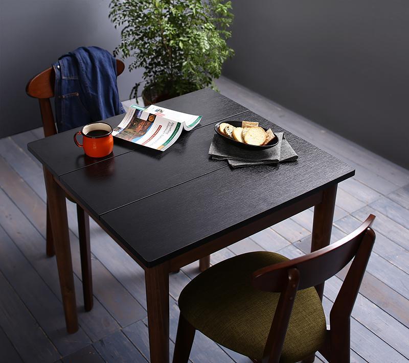 (送料無料) ダイニングセット 3点セット(テーブル ブラック×ブラウン W68+チェア2脚) カフェ ヴィンテージ ダイニング Mumford マムフォード 木製 食卓 2人掛け ダークグレー グリーン