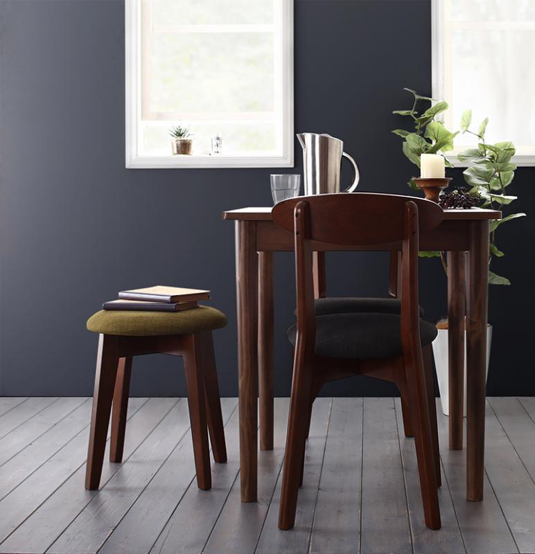 (送料無料) ダイニングセット 4点セット(テーブル ブラック×ブラウン W68+チェア2脚+スツール1脚) カフェ ヴィンテージ ダイニング Mumford マムフォード 木製 食卓 3人掛け ダークグレー グリーン