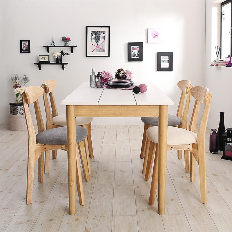 (送料無料) ダイニング 5点セット(テーブル 幅115+チェア4脚) カワイイテイスト ダイニング Lauren ローレン 天然木 木製 食卓テーブル 4人掛け アイボリー ライトグレー