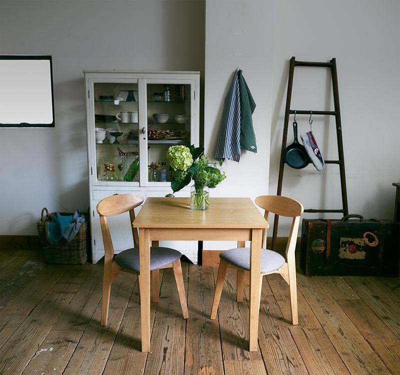(送料無料) ダイニング テーブル セット (ダイニングテーブル ナチュラル 幅68 + チェア 2脚) 3点セット スクエアサイズのコンパクトダイニングテーブルセット FAIRBANX フェアバンクス 天然木 木製 食卓テーブル 2人掛け アイボリー ライトグレー ブラウン