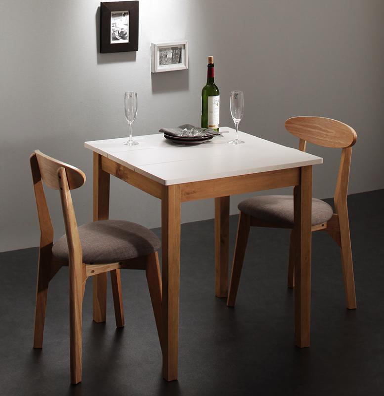(送料無料) ダイニング 3点セット (ダイニングテーブル ホワイト×ナチュラル 幅68 + チェア 2脚) モダン Worth ワース 天然木 木製 食卓テーブル 2人掛け アイボリー ダークグレー