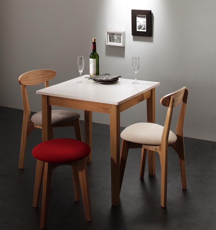 (送料無料) ダイニング 4点セット (ダイニングテーブル ホワイト×ナチュラル 幅68 + チェア 2脚 + スツール 1脚) モダン Worth ワース 天然木 木製 食卓テーブル 3人掛け アイボリー ダークグレー