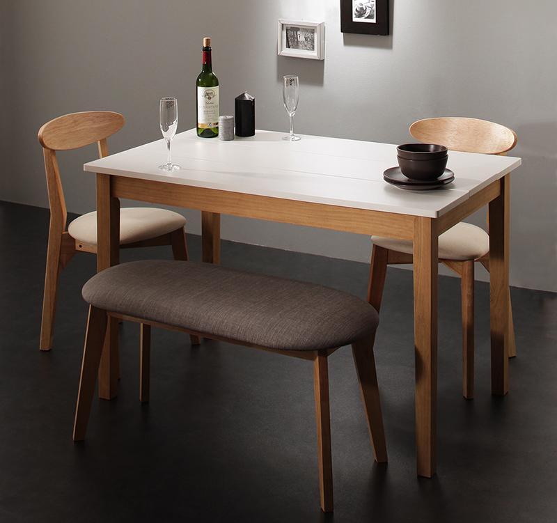 (送料無料) ダイニング 4点セット (ダイニングテーブル ホワイト×ナチュラル 幅115 +チェア2脚+ベンチ1脚) モダン Worth ワース 天然木 木製 食卓テーブル 4人掛け アイボリー ダークグレー