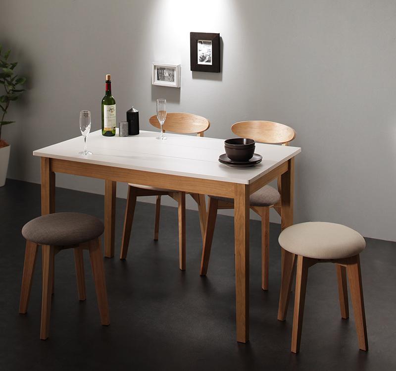 (送料無料) ダイニング 5点セット (ダイニングテーブル ホワイト×ナチュラル 幅115 +チェア2脚+スツール2脚) モダン Worth ワース 天然木 木製 食卓テーブル 4人掛け アイボリー ダークグレー