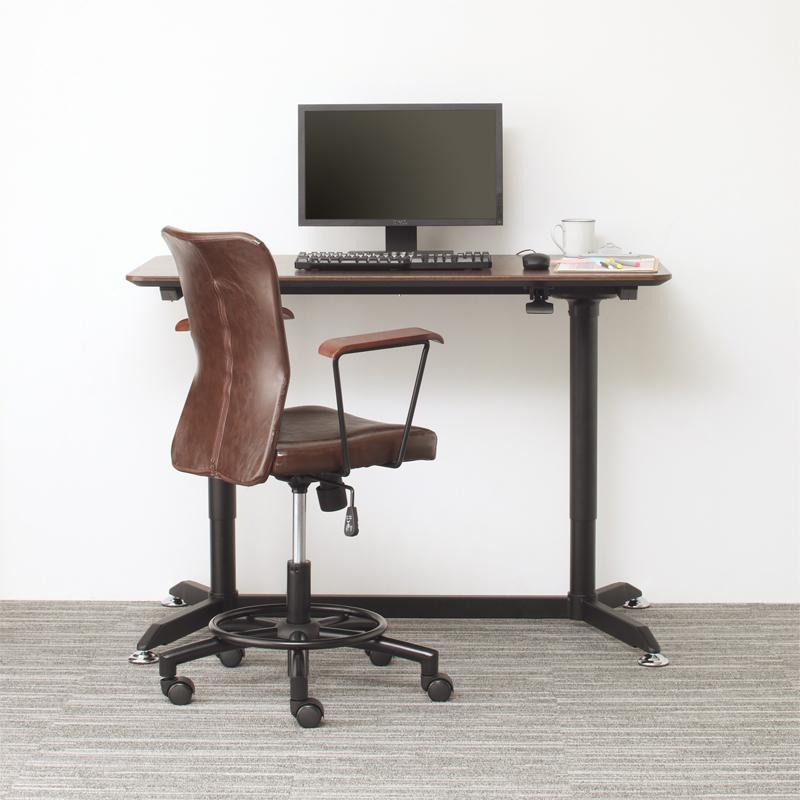 (送料無料) オフィスデスク 2点セット(デスク 幅120 + チェア) ワンタッチで高さが変えられる スタンディングデスクセット GROWTHER グローサー ワークテーブル ワークデスク 木製 ブラック