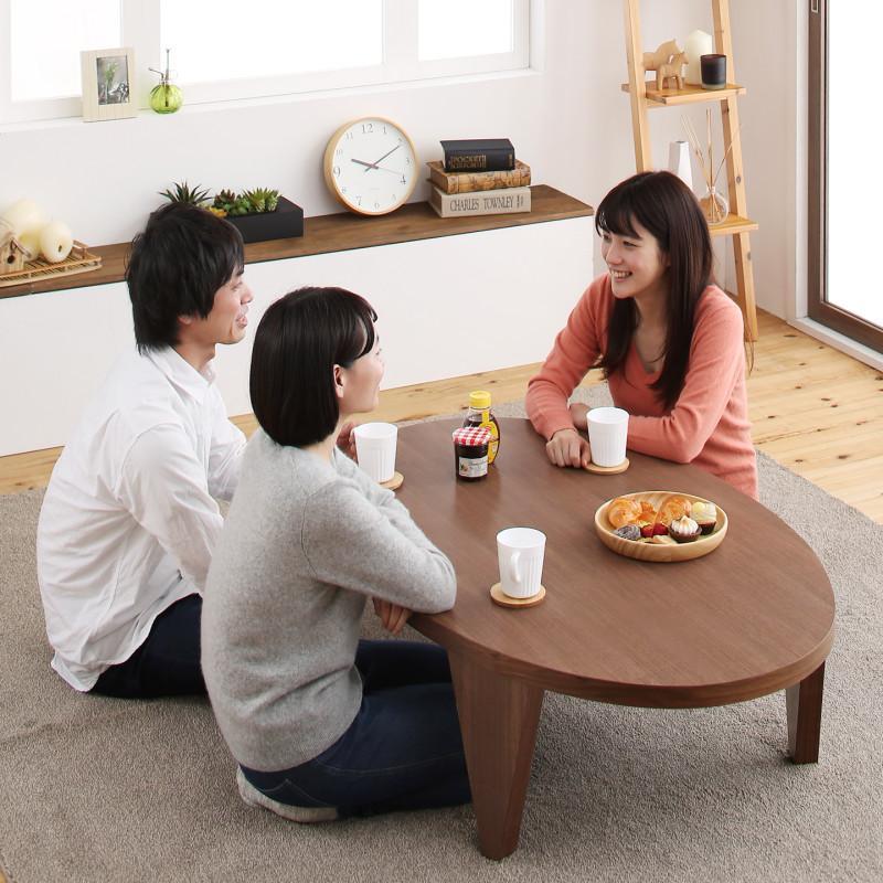 天然木ウォールナット材ワイドサイズちゃぶ台デザイン折りたたみテーブル MIKOTO みこと だ円形 W120