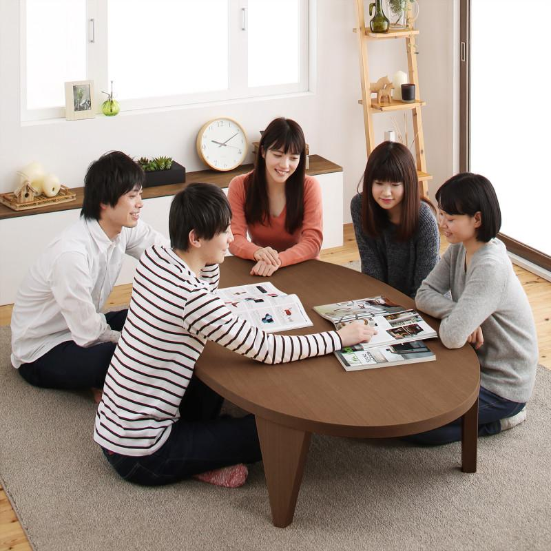 天然木ウォールナット材ワイドサイズちゃぶ台デザイン折りたたみテーブル MIKOTO みこと だ円形 W150