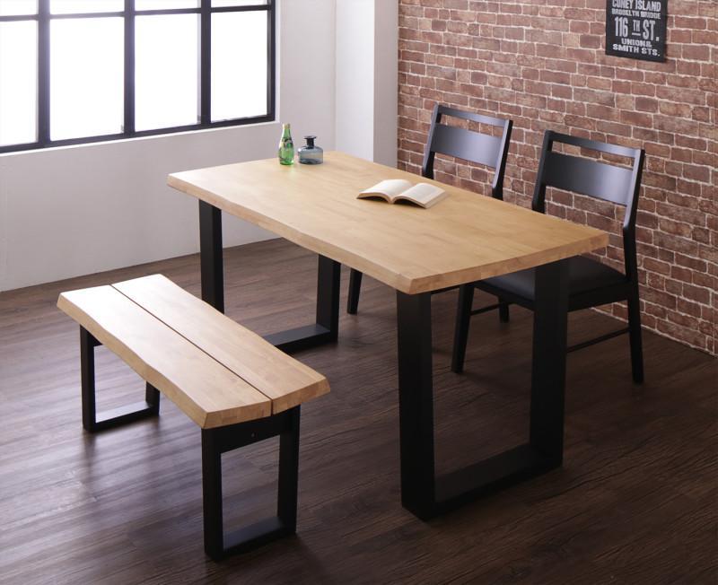 (送料無料) ダイニング 4点セット(ダイニングテーブル 幅140 +チェア2脚+ベンチ1脚 2人掛け) 天然木 無垢材 ヴィンテージデザインダイニング NELL ネル 木製 角型 食卓テーブルセット 4人掛け ライトブラウン