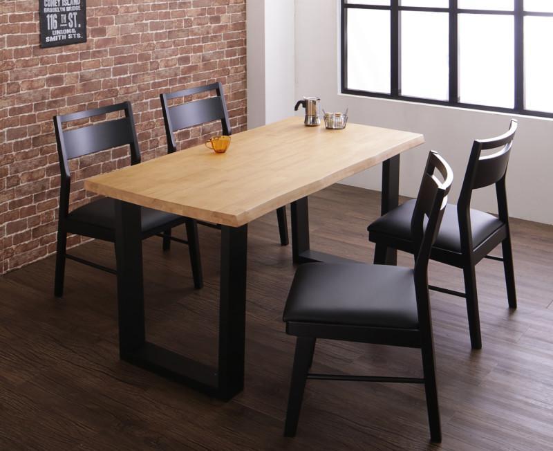 (送料無料) ダイニング 5点セット(ダイニングテーブル 幅140 +チェア4脚) 天然木 無垢材 ヴィンテージデザインダイニング NELL ネル 木製 角型 食卓テーブルセット チェアー 4人掛け ライトブラウン