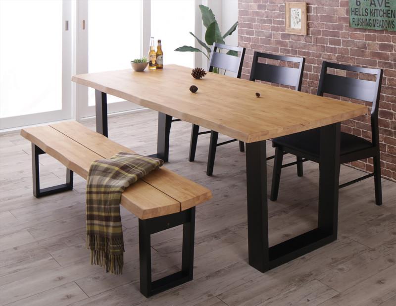 (送料無料) ダイニング 5点セット(ダイニングテーブル 幅180 +チェア3脚+ベンチ1脚 3人掛け) 天然木 無垢材 ヴィンテージデザインダイニング NELL ネル 木製 角型 食卓テーブルセット 6人掛け ライトブラウン