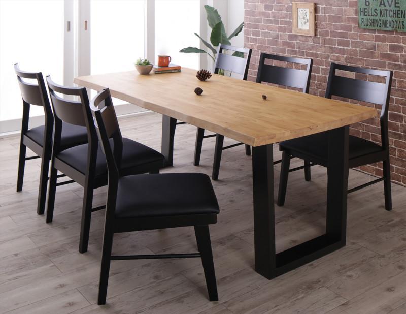 (送料無料) ダイニング 7点セット(ダイニングテーブル 幅180 +チェア6脚) 天然木 無垢材 ヴィンテージデザインダイニング NELL ネル 木製 角型 食卓テーブルセット チェアー 6人掛け ライトブラウン