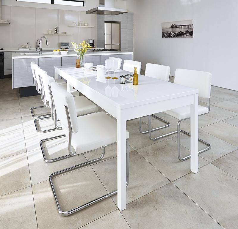 鏡面仕上げ スライド伸縮テーブルアーバンモダンデザインダイニングセット Lubey リュベ 9点セット(テーブル+チェア8脚) W135-235