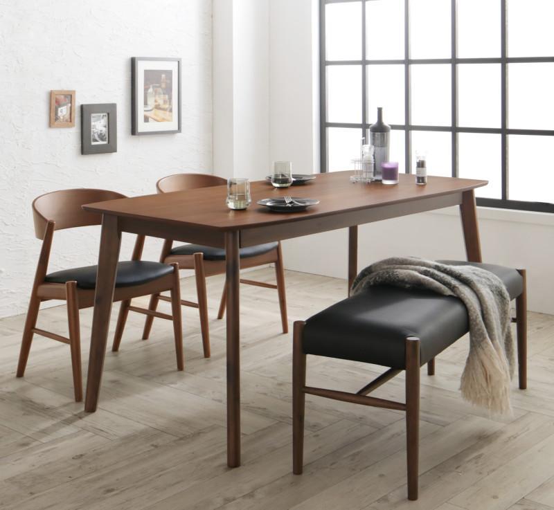 天然木北欧モダンデザインダイニング Chaleur シャルール 4点セット(テーブル+チェア2脚+ベンチ1脚) W150