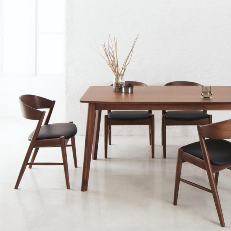 天然木北欧モダンデザインダイニング Chaleur シャルール 5点セット(テーブル+チェア4脚) W130