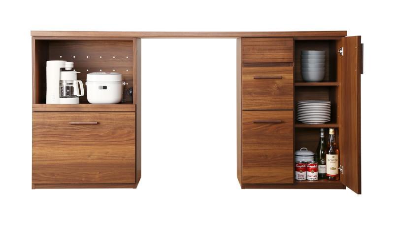 日本製完成品 天然木調ワイドキッチンカウンター Walkit ウォルキット レンジ台+扉付き引き出し 180cm