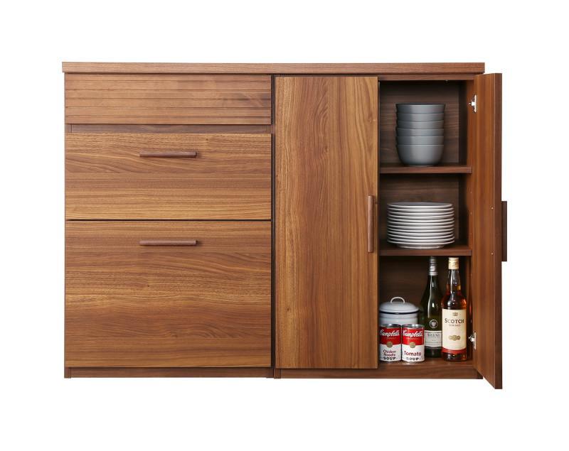 日本製完成品 天然木調ワイドキッチンカウンター Walkit ウォルキット 引き出し+食器棚 120cm