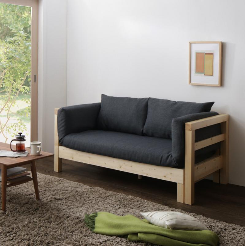 16色から選べる 伸縮・伸長式北欧天然木すのこソファベッド Exii エグジー マット&クッションセット 2P-3.5P