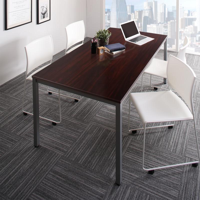 180 平机 ナチュラル スチール脚 オフィスデスク 幅180 チェア4脚) 5点セット ミーティングテーブル&スタッキングチェアセット (テーブル ダークブラウン (送料無料) ホワイト シルビオ 木製 おしゃれ + Sylvio