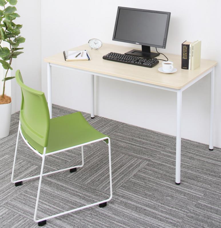 (送料無料) オフィスワークテーブル 2点セット(テーブル 幅120 +チェア) 多目的オフィスワークテーブルセット ISSUERE イシューレ オフィステーブル 作業台 パソコンデスク おしゃれ 木製 スチール脚 平机 角型 ダークブラウン ホワイト ナチュラル