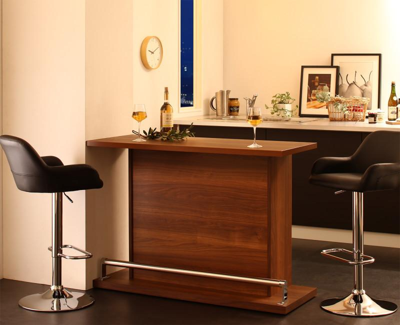 (送料無料) カウンターテーブル セット (テーブル 幅120 +カウンターチェア2脚) 3点セット 省スペースタイプ 収納付き 本格バースタイル 間仕切り カウンターダイニングセット Belck ベルク 木製 収納 角型 ブラック ブラウン