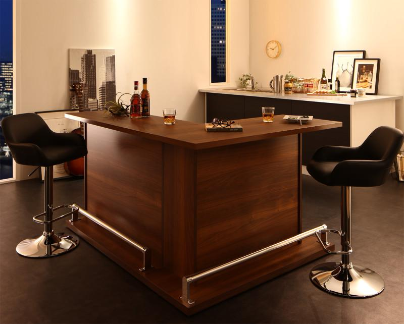 (送料無料) カウンターテーブル セット (テーブル 幅110+幅120 +カウンターチェア2脚) 4点セット L字タイプ 収納付き本格バースタイル間仕切りカウンターダイニングセット Belck ベルク 木製 収納 角型 ブラック ブラウン