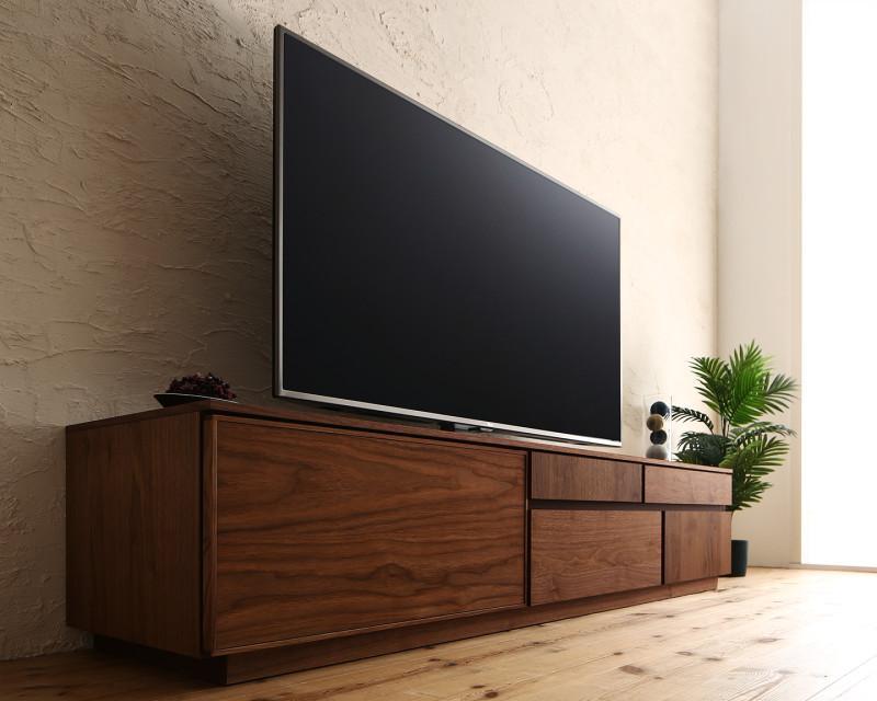国産完成品天然木 和モダンデザイン ガラス突板テレビボード Stuta ストゥータ 幅180