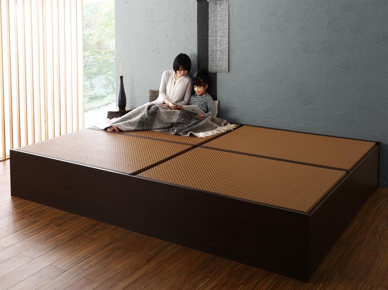お客様組立 布団が収納できる・美草・小上がり畳連結ベッド ベッドフレームのみ ワイドK200(S×2)