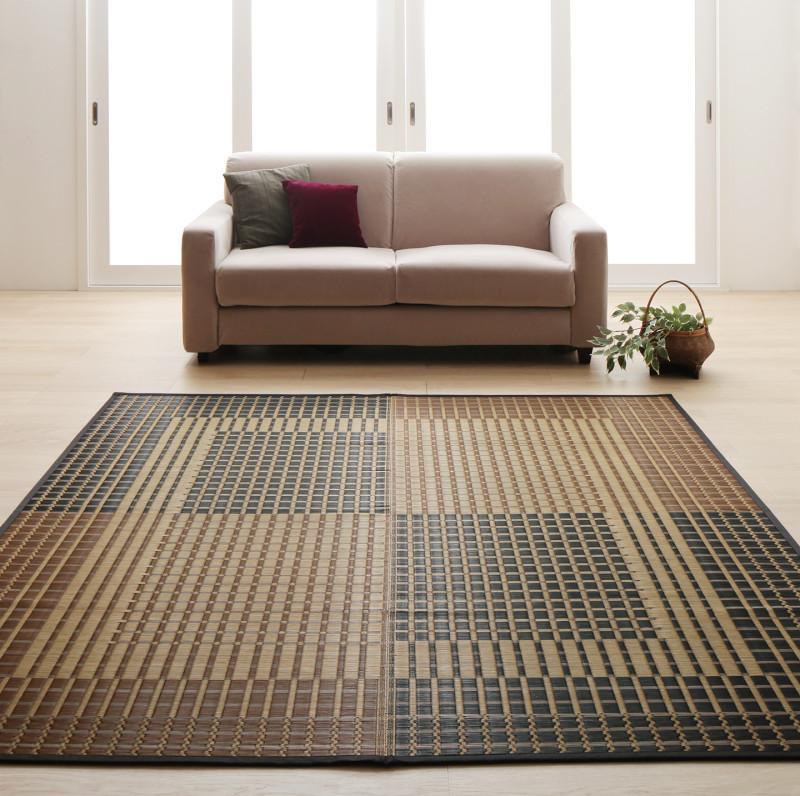 掛川織国産デザインい草ラグ 礎 いしずえ 不織布あり 191×250cm