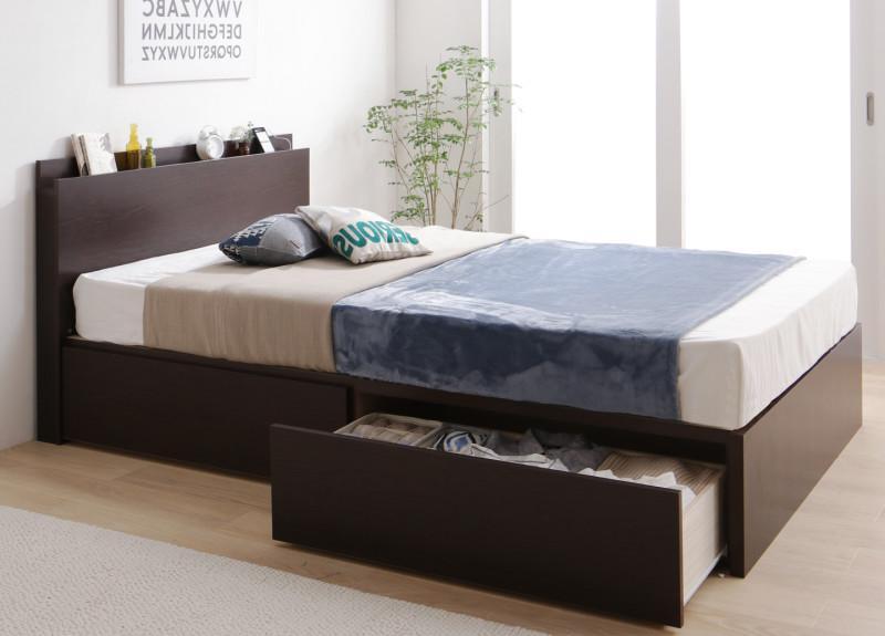 送料無料 組立サービス付き Aタイプ ベッドフレーム マットレス セット シングルベッド 収納ベッド 棚付き コンセント付き すのこ 大容量 収納付き Tenerezza テネレッツァ ゼルトスプリングマットレス付き 引き出し 収納 木製 シングルサイズ ベッド ベット