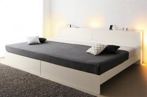 送料無料 ベッドフレーム マットレス ワイドK280 ダブルベッド 2台 連結ベッド すのこ 2段階高さ調整 国産 ベッド LANZA ランツァ スタンダードボンネルコイルマットレス付き ダブルサイズ 棚付き ライト付き コンセント付き 木製 スノコベッド 収納
