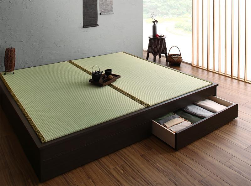 組立設置付 大型ベッドサイズの引出収納付き 選べる畳の和モダンデザイン小上がり 夢水花 ユメミハナ い草畳 ダブル