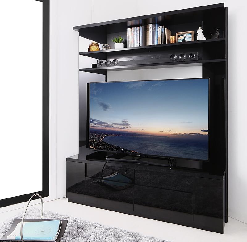 鏡面仕上げ 大型テレビ対応ハイタイプコーナーテレビボード Prelumo プレルモ