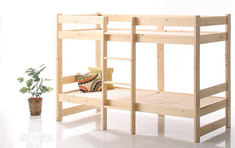 返品不可 コンパクト天然木2段ベッド Jeffy ジェフィ ショート丈 ベッドフレームのみ 人気海外一番 セミシングル