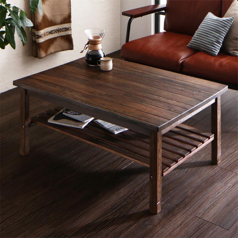 天然木の古木風ヴィンテージデザインこたつテーブル Vinbaum ヴィンバーム 長方形(70×105cm)